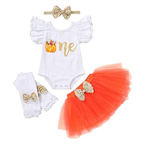 Conjunto de ropa de calabaza para bebé de 1er cumpleaños con volantes y manga de tul, tutú, diadema, calentadores de piernas para Halloween (blanco, 12 – 18 m)