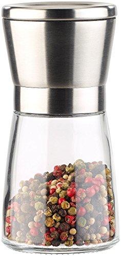 PEARL Gewürzstreuer: Manuelle Gewürzmühle mit Keramik-Mahlwerk, Glas und Edelstahl, 13 cm (Gewürzmühle Keramikmahlwerk)