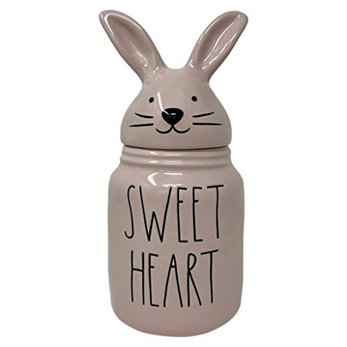 RAE DUNN BY MAGENTA PINK 'SWEET HEART' EASTER & VALENTINES DAY COOKIE CANDY CANISTER WITH BUNNY FACE & EARS LID - Artisan Collection Perfect for your Rae Dunn Kitchen Décor Collection