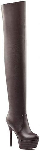 ZHRUI Stiefel para damen - Stiefel de Invierno con Cremallera hasta la Rodilla Estilete Delgado Stiefel para damen Sexy 35-43 (Farbe   braun, tamaño   33)