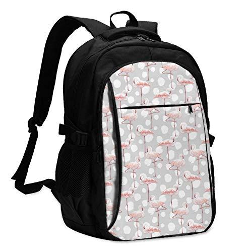 XCNGG Mochila USB con múltiples Bolsillos, Mochila Informal, Mochila Escolar Flamingo Travel Laptop Backpack with USB Charging Port Multifunction Work School Bag