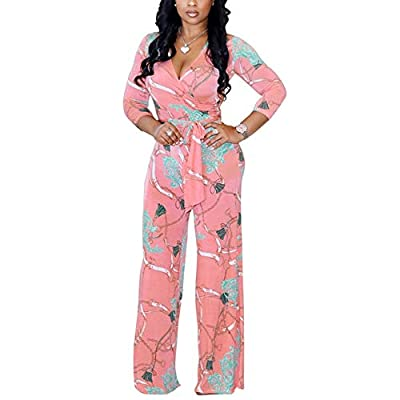 Lisa Colly Women Summer Floral Print Jumpsuit Casual Wide Leg Beach Jumpsuits Rompers (L, Pink)
