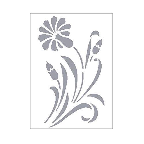 Artif sjabloon, kunststof, 15 x 21 cm, grote bloem, 20 x 12 cm, voor scrap