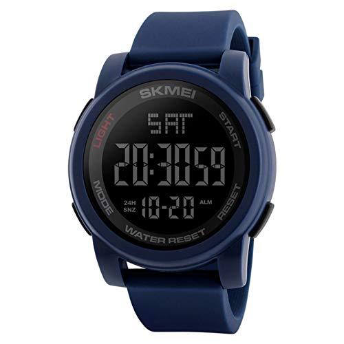 JTTM Reloj Deportivo Digital para Hombre con Pantalla LED Grande, Esfera Grande, Resistente al Agua, Casual, Luminoso, cronómetro, Alarma, Reloj de ejército,Azul