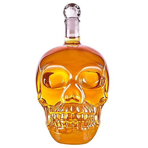 REDSHORE Skull Wine Decanter Crystal Skull Bottle Glass Shot Liquor Wine Decanters Whiskey Bottles,350ml/500ml/1000ml Novelties Alcohol Related Gifts (L)