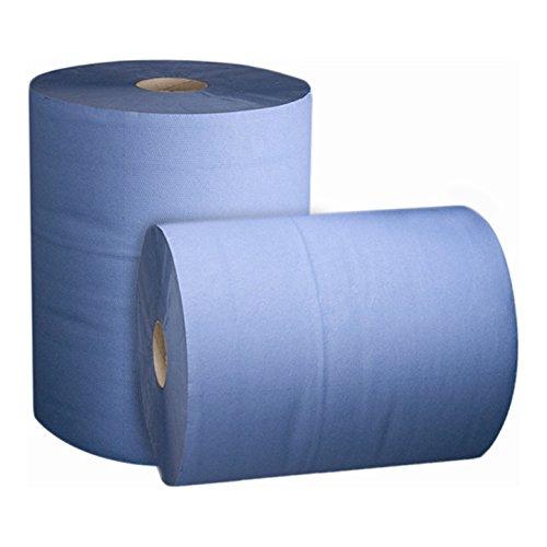 STIER Putzpapier Rollen Basic, 2 Rollen, blau, 3-lagig, Putzrollen, Länge 36,5 cm x Breite 35 cm, saugstarke Reinigungstücher, reißfeste Putztücher 2 Stk