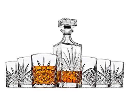 Godinger Whiskey Decanter and 6 Whiskey Glasses Bar set, for Liquor Scotch Bourbon Wine - Dublin Crystal Collection