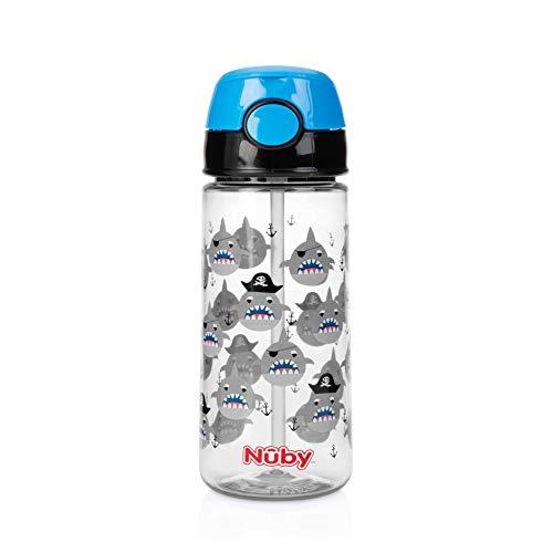 Nûby Gobelet Paille/Bouton Push 3 Ans Bleu 530 ml