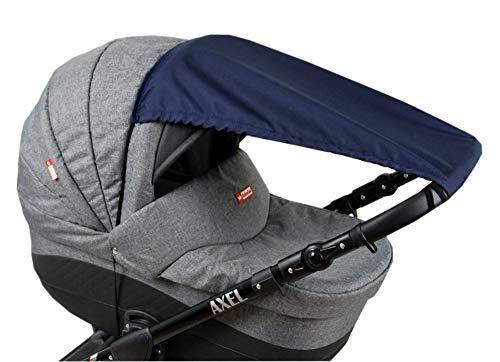 BABYLUX Sonnenschutz UV Rollo Schütz SONNENSEGEL Sonnendach für Kinderwagen Buggy (Marine Blau)