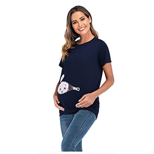 Topgrowth T Shirt Premaman Divertenti Stampa Top Casual Camicetta Infermieristica maternità Maglietta a Maniche Corte (Blu Scuro, M)
