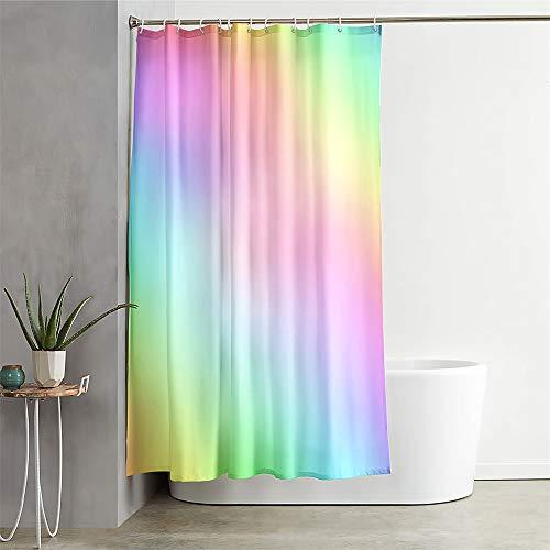 Duschvorhang Wasserdicht, Chickwin 3D Gradient Polyester Anti-Schimmel Waschbar Antischimmel Badewanne Shower Curtain mit12Ringes- fürBadezimmerGardinen Decor (Regenbogen,180x200cm)