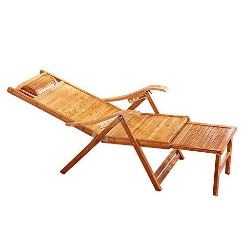 Tumbonas LHA Ocio Sillas de terraza de bambú Sillones reclinables Sillón Plegable Siesta Silla Playa Terraza Respaldo Jardín Sillas