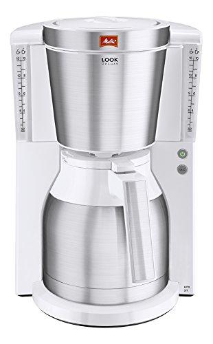 Melitta 101113 Kaffeefiltermaschine Look Therm DeLuxe, Aromaselector, Kalkschutz, weiß/Edelstahl