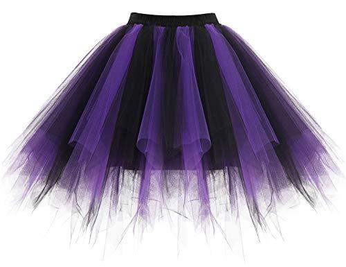 Homrain Mujer Faldas Tul Enaguas Tutu Enagua Underskirt para Rockabilly Vestidos Black-Purple S