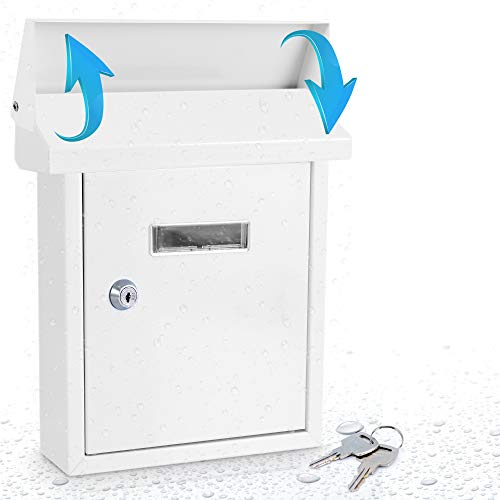 Weatherproof Wall Mount Locking Mailbox - Galvanized Steel w/ Metal Flap for Mail Insertion, Commercial Rural Home Decorative & Office Business Parcel Box Package Drop Secure Lock - Serenelife SLMAB01