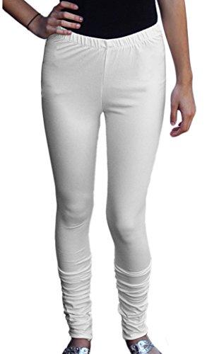 Ayurvastram extra-Lange Jersey Baumwolle Leggings: Cremefarben: L