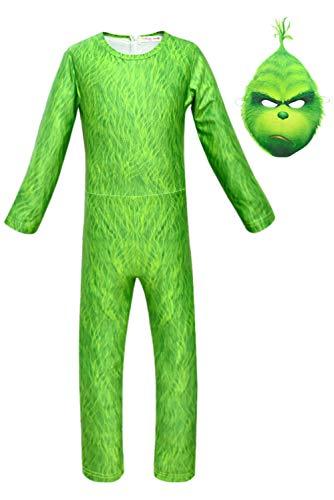 Xiemushop Anime grünes Monster Jungen Cosplay Filmkostüm Kinder Overall Grüne Kostüm Cosplay Jumpsuit mit Maske
