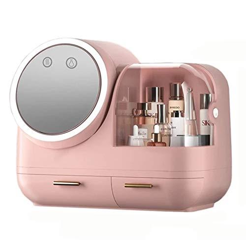 Led Light Makeup Cosmetic Desktop Organizador con Espejo Y Ventilador Rosa Cubierta Giratoria Almacenamiento De Joyas, Cargador USB
