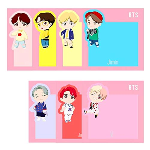 eKoi Cute KPOP BTS Folder 3 Pocket Compartment Clear Plastic Glossy A4 Size File for School Office Project Paper Document Organizer with Full Set Cartoon Sticky Note Label Tags (CHIMMY KOYA Pack)