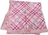 バーバリー BURBERRY 婦人 レディース 大判 ハンカチ チェックと花柄 ロゴプリント (ピンク)