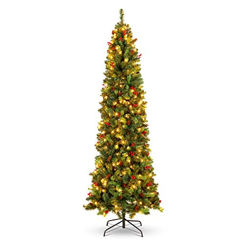 Best Choice Products 6ft Pre-Lit Spruce Pencil Christmas Tree Pre-Decorated for Home, Office, Party, Holiday Decoration w/ 618 Tips, 250 Lights, Pine Cones, Metal Hinges & Base - Green
