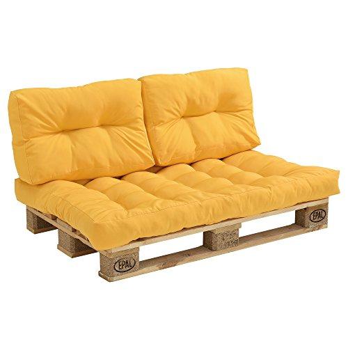 [en.casa] Set de 3 Cojines para sofá-palé - cojín de Asiento + Cojines de Respaldo Acolchados [Mostaza] para europalé In/Outdoor