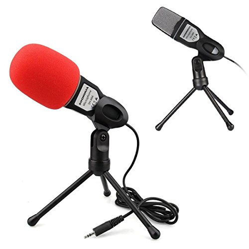 DEALPEAK Multipurpose Professional Condenser Sound Podcast Studio Microphone For PC Laptop Skype MSN, Black