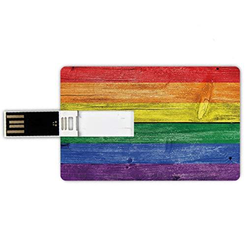 USB-Sticks 32GB Kreditkartenform Regenbogen Memory Stick-Bankkartenstil Alte verdorbene hölzerne Planken im Regenbogen färbt Flaggen-Muster-Stolz-Thema-Weinlese-Druck,Mehrfarben Wasserdichte stift dau