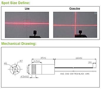 MXTLASER D12mm 635nm Adjustable Focus Class II Red Line Laser Diode Module Industrial Grade APC//Acc Driver 110 Degree