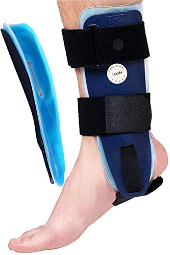 VELPEAU Ankle Brace - Stirrup Ankle Splint - Adjustable Rigid Stabilizer for Sprains, Tendonitis, Post-Op Cast Support and Injury Protection for Women and Men (Gel Pads, Large - Right Foot)