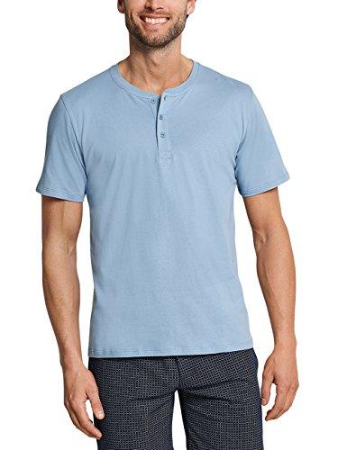 Schiesser Herren Mix & Relax T-Shirt Knopfleiste Schlafanzugoberteil, Blau (Hellblau 805), Large