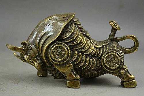 Escultura Decoración Estatuas Figuritas Zodiaco Chino Tallado En Latón Ganado Animal Las Vacas Traen Monedas De Oro Dinero Estatuas Pequeñas
