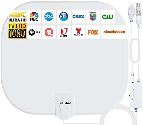 2021 Neuf Version Antenne TV Intérieur,320KM Gamme Antenne Intérieure Amplificateur Intellectuel Signal,Convient aux 1080P 4K Chaînes Télévision Gratuites,5 Mètres Câble Coaxial - Blanc Elliptique