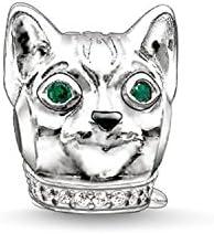 Thomas sabo - Thomas bloqueo bead gato plateado con verde y negro de circonios k0165-845-7