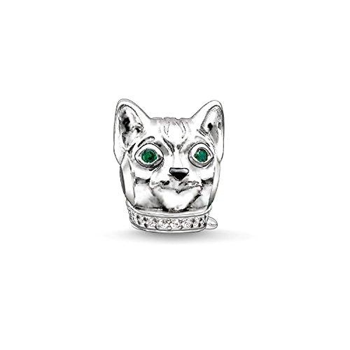 Thomas sabo - Thomas Locking Bead Katze Silber mit Grün und Schwarz Zirkonia K0165 - 845-7