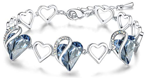 Leafael quotInfinity Love Heart Bracelet Made with Swarovski Crystals Light Sapphire Blue March December Birthstone Jewelry Gifts for Women SilverTone 7quot2quot