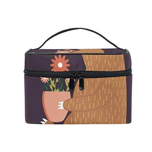 OREZI Large MultifuncationKosmetiktasche Makeup Travel Toiletry Travel Kit Organizer Case Zipper Portable Cute Sloth with FlowersMakeup Tasche for Women