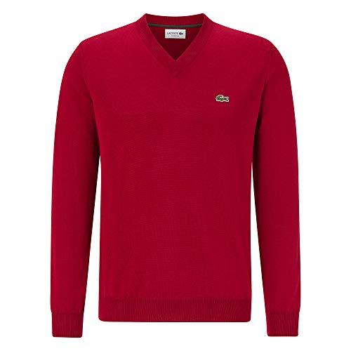 Lacoste Herren AH2181 Pullover V-Ausschnitt, Uni klassisch Basic Sweater Pulli Strickpullover Strickpulli Oberteil Langarm,Bordeaux (476),XS (2)