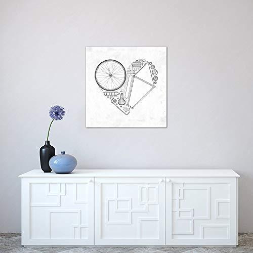 """iCanvasART Love Bike Print von Florent Bodart 30,5 x 1,9 x 30,5 cm Tiefe: 1,9 cm, Leinwand, gespannt 18\"""" x 18\"""""""