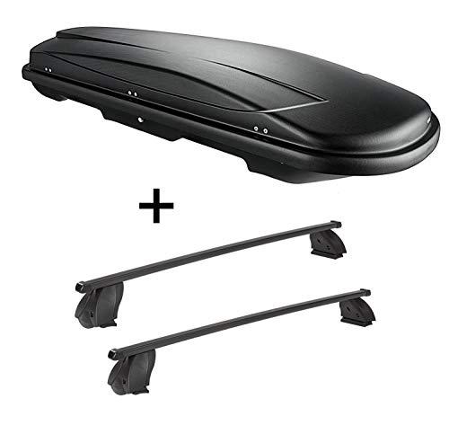 VDP Dachbox VDPJUXT400 400 Liter schwarz abschließbar + Dachträger K1 MEDIUM kompatibel mit Mercedes CLA Shooting Brake (X117) (5Türer) ab 15