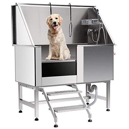 Z ZELUS Professionelle Hundepflege Badewanne Edelstahl-Badewanne 304 Edelstahl Wanne Pet Dog Grooming Tub Pet Bath Tub für Haustierpflege