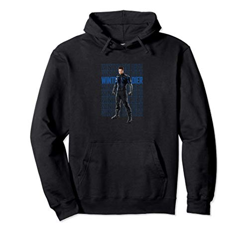Marvel The Falcon And The Winter Soldier Bucky Text Stack Pullover Hoodie