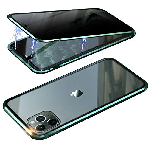 RANYOK Compatible iPhone 11 (6.1 inch) Privacy Magnetic Adsorption Case, Double-Sided Tempered Glass with Built-in Screen Protector 360° Full Body Metal Frame Cover (Dark Green)