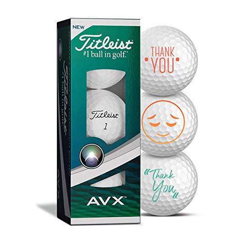 Titleist Golfbälle 3er Pack Danke/Thank You Motiv Golf Geschenke Dankeschön für Golfer Geschenkidee (AVX)