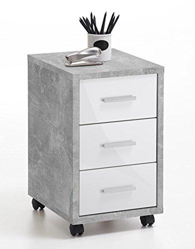 lifestyle4living Rollcontainer mit weißen Schubladen, grau | Rollschrank | Unterschrank | Schubladencontainer | Schreibtischcontainer