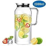 ecooe Glaskaraffe 2000ml (Volle Kapazität) Glaskrug aus Borosilikatglas Wasserkrug mit Edelstahl...