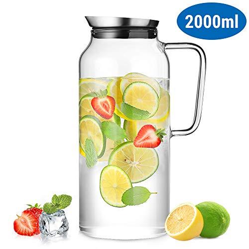 ecooe Glaskaraffe 2000ml (Volle Kapazit?t) Glaskrug aus Borosilikatglas Wasserkrug mit Edelstahl Deckel Karaffe Glaskanne