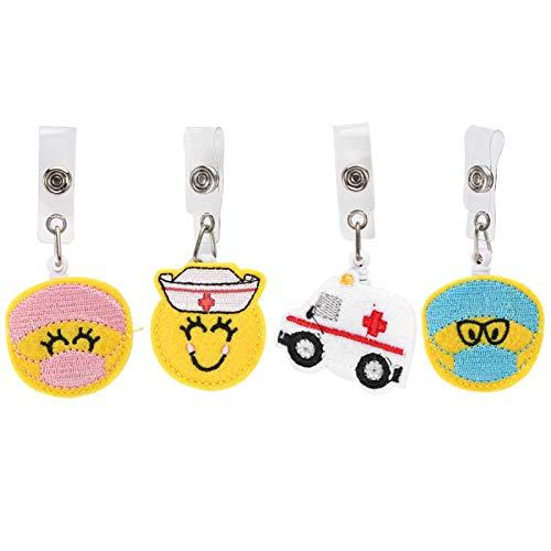 Bobine di badge 4 pezzi retrattili per infermieri, simpatico ricamo ID carta di nome porta badge clip regali forniture per ufficio a casa(#1)
