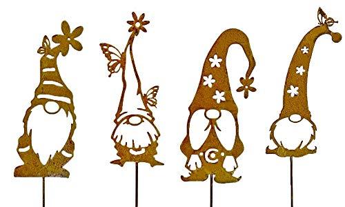 Gartenstecker Zwerg Gnom Klausi Beetstecker Topfstecker Metall Rost Gartendeko Edelrost rostige Dekoration 40cm (4er Set)