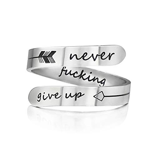 Vrycot Adjustable Stainless Steel Silver Never give up Ring Inspirational Opening Stacking Cute Hiphop Bands